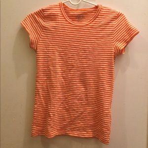 J Crew Striped Studio T-Shirt, Orange XXS